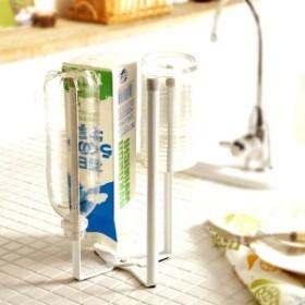 キッチンエコスタンド「タワー」(ホワイト)[ペットボトルスタンド グラススタンド カップスタンド 乾かす コップ カップ 牛乳パック]
