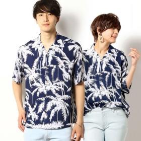 [マルイ]【セール】ヤシの木柄 ビッグ オープンカラーシャツ/パープル&イエロー(Purple & Yellow)