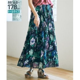 水彩花柄シフォンプリーツマキシスカート