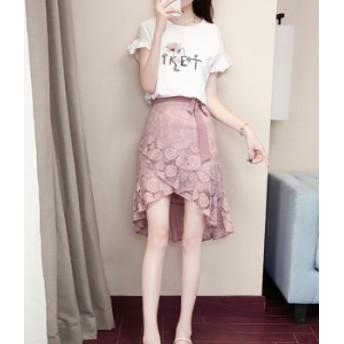 スカート セットアップ レース スカート リボン ピンク 花柄 ピンク