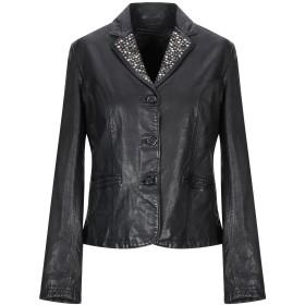 《セール開催中》MINORONZONI レディース テーラードジャケット ブラック L 羊革(ラムスキン) 100%