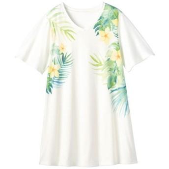 【レディース】 プリントロングフレアTシャツ(S-5L) - セシール ■カラー:ホワイト/花柄 ■サイズ:M,LL,L,3L,4L-5L