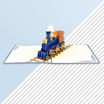 手作り切り紙ポップアップカード 汽車 (ブルー)