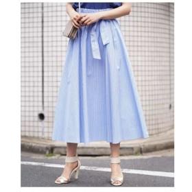 MK MICHEL KLEIN / 【洗える】ストライプ柄ベルト付きロングスカート