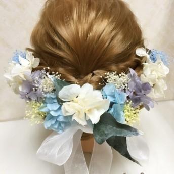 紫陽花 プリザーブドフラワー 髪飾り 結婚式 成人式 フラワー ヘッドドレス