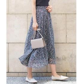 MK MICHEL KLEIN / エムケーミッシェルクラン 【洗濯機で洗える】花柄プリントスカート