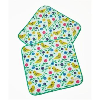スカンジナビアデザイン「小さな黄色いホオジロ鳥」表ガーゼ裏パイルウォッシュタオル同色2枚組 ハンドタオル・タオルハンカチ