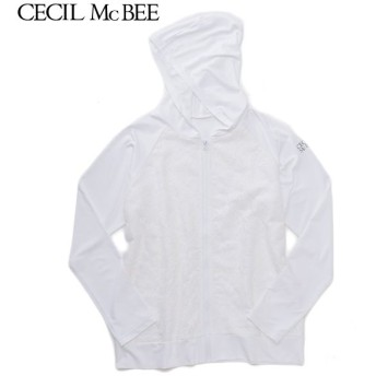 CECIL McBEE セシルマクビー レース付きUVパーカー シロ 女児ガールズラッシュガード 海水小物 N119-939