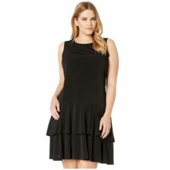 マイケルコース レディース ワンピース トップス Plus Size Solid Sleeveless Flounce Dress Black