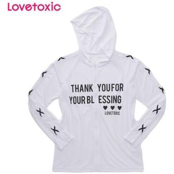 Lovetoxic ラブトキシック 袖編み上げUVパーカー シロ 女児服飾 ガールズラッシュガード 海水小物 N119-972
