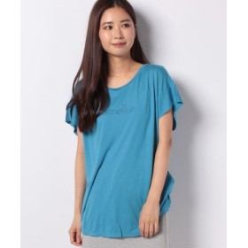 (BENETTON (UNITED COLORS OF BENETTON)/ベネトン(ユナイテッド カラーズ オブ ベネトン))袖切り替えロゴ半袖Tシャツ・カットソー/レディース ブルー