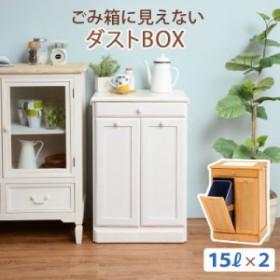 ダストボックス 幅47×高さ71cm 天然木パイン材 完成品 2分別 15L ゴミ箱に見えないダストBOX 天板タイル敷き