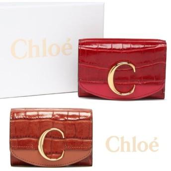クロエ Chloe 三つ折り財布クロエC フラップ クロコダイルプリント レザー ブラウン レッド