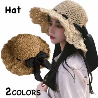 麦わら帽子 レディース つば広 UVカット ハット 紫外線 日よけ おしゃれ 無地 柄 リボン