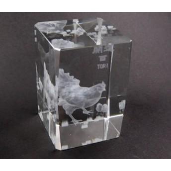 """開運干支""""酉""""クリスタルガラス立体レーザー彫り 置き物 d0001"""