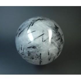 ブラックトルマリン入りクォーツスフィア丸玉75mm593g★太い結晶の上に小さな針状結晶が出ていて面白い★torb70s003