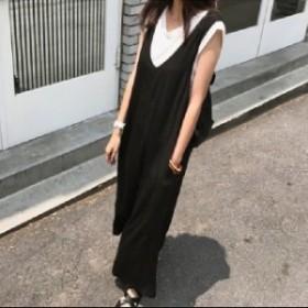 サロペット ワイドパンツ オーバーオール Vネック マキシ丈 お出掛け 旅行 リゾート デート 女子会