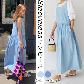 フレットメルパンデニムワンピース/ おしゃれなシルエットのファッションコーデー提案!ハイクォリティー/韓国ファッション