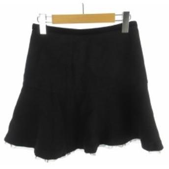 【中古】アクアガール オン ザ ストリート aquagirl ミニスカート フレアー レース チュール 黒 ブラック ゴールド ウール 36