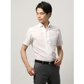 【THE SUIT COMPANY:トップス】【半袖・ICE COTTON】ワンピースカラードレスシャツ 織柄 〔EC・BASIC〕