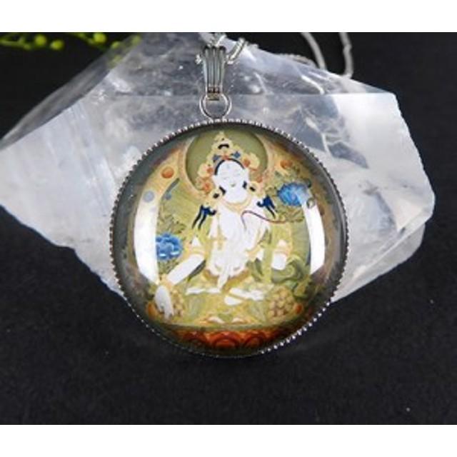 ホワイトターラ(多羅菩薩)神仏画ペンダント  観音の慈悲の涙 アセンデッドマスター p3004