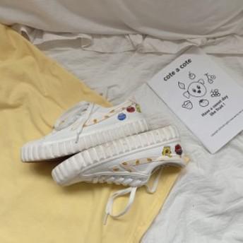 キャンパス 白いスニーカー セサミストリート柄 厚底スニーカー ローカットスニーカー レディース 春秋夏シューズ靴