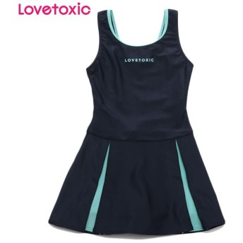 Lovetoxic ラブトキシック スカート付きスクール水着 ウスアオ 女児ガールズブランドスクール スクール水着 N119-906