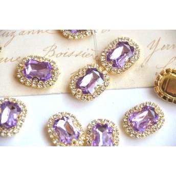 クリスタル ビジューレクタングルライトパープル宝石