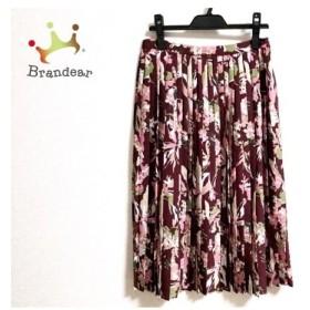 トゥモローランド スカート サイズ36 S レディース 美品 ボルドー×マルチ プリーツ  値下げ 20190828