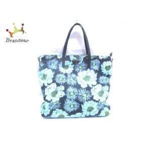プラダ PRADA ハンドバッグ - 黒×ライトブルー×マルチ 花柄 ナイロン×レザー  値下げ 20190711