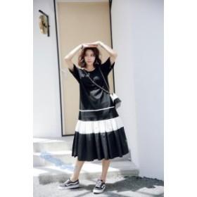 ワンピース レディース  ロング丈 デザイン カジュアル 配色 フレア 半袖 ゆる系 ホワイト ブラック M L XL