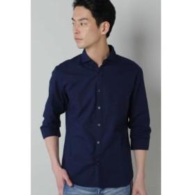 (TORNADO MART/トルネードマート)BLUE TORNADO∴COOLMAX+汗染み防止加工 カッタウェイ7分袖シャツ/メンズ ネイビー 送料無料
