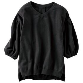 60%OFF【レディース】 パフスリーブニット - セシール ■カラー:ブラック ■サイズ:L,3L,LL