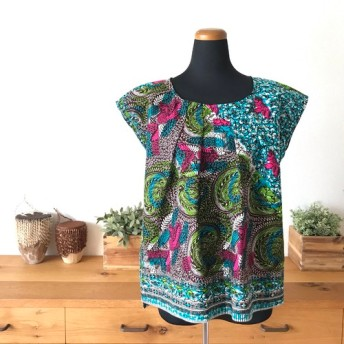 <Sweet African>アフリカ生地のフレンチスリーブのチュニック・ショート<Ligiht blue Batik>