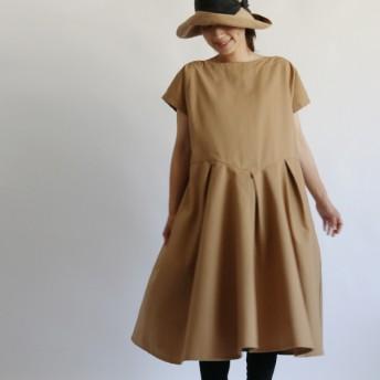 ●秋PRICE●気楽に気軽に着れる上質コットン100% 内タック ワンピース ゆったり 半袖 F62A