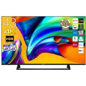 (標準設置 送料無料 Aエリアのみ) ハイセンス 43V型地上・BS・110度CSデジタル4Kチューナー内蔵 LED液晶テレビ (別売USB HDD録画対応)43E6800 返品種別A