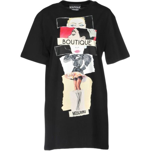 《9/20まで! 限定セール開催中》BOUTIQUE MOSCHINO レディース T シャツ ブラック 40 100% コットン