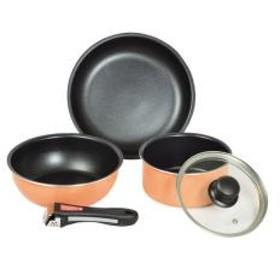 フライパン&鍋セット マイライフ ふっ素加工 IH対応 クックウェアミニ5点セット 着脱ハンドル付き オレンジ
