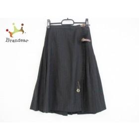 ドレステリア DRESSTERIOR 巻きスカート サイズF レディース ダークグレー プリーツ/ストライプ  値下げ 20190816