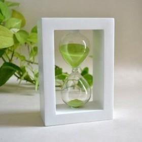 【訳あり】砂時計 30分計 木製枠 (白枠×グリーン)