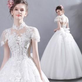 ウエディングドレス レディース プリンセスドレス 花嫁ドレス 上品な ブライダルドレス 半袖 ロングドレス オシャレ 演奏会ドレス  ウエ