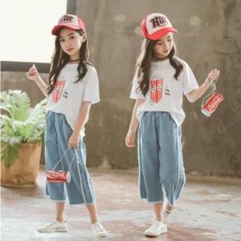 【送料無料】子供服 セットアップ 女の子 夏 半袖 韓国子供服 キッズ 可愛い Tシャツ ワイドパンツ デニムパンツ 上下セット ガチョウ