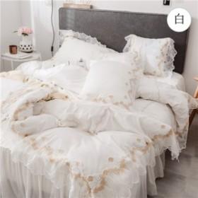 布団カバー セット 綿100 フリル ベッド カバー おしゃれ 可愛い ベッドカバーセット シングル セミダブル ダブル ワイドダブル 掛け布団