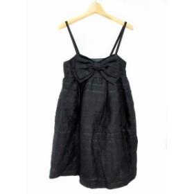 【中古】ジルスチュアート JILL STUART ワンピース キャミ カットソー ミニ 総柄 絹混 シルク混 0 黒 ブラック 銀色