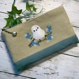 大きめマルチポーチ 青いお花とシマエナガ 8号バイオウォッシュ帆布