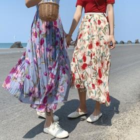 韓国のファッション新作 ★今季花柄 プリントハイウエストスカートAラインスカートの中でロングスカート ヴィンテージ