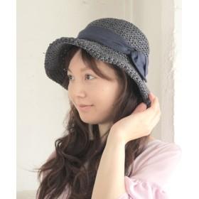 麦わら・ストローハット・カンカン帽 - SOROTTO レディース 手編みリボンペーパーハット 帽子