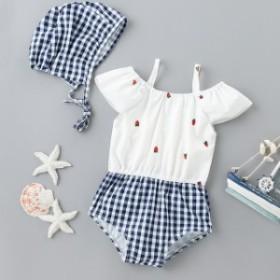 イチゴの 子供服 水着 ガールズ 韓国 バージョン ワンピーススカート 水着 2点セット