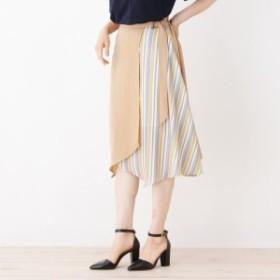イッツデモ(ITS'DEMO)/ラップ風ストライプ切替スカート