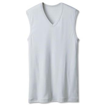 【メンズ】 男の綿100%消臭・抗菌 スリーブレスVネック(2枚組) - セシール ■カラー:ライトグレー ■サイズ:S,M,L,3L,LL,5L